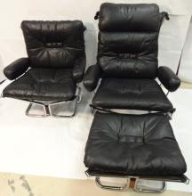 2 Mid-Century Black Leather Lounge Chairs+Ottoman