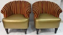 Art Deco Gilt Lounge Chairs-Red+White Fabric Backs