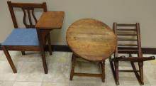 Cherry Phone Chair, Drop-Leaf Table, Spindle Chair