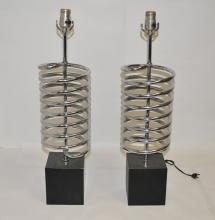 Pair of Mid-Century Chrome Table Lamps