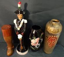 Lot of 4 Sculptures inc Galliano Soldier+Art Glass