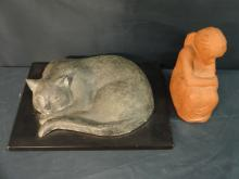 Pair/Sculptures including Sleeping Cat with Stand