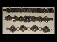Set of 3 Vintage Sterling and Amethyst Bracelets