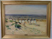 Beach Scene w/Cabanas- Gaston Sebire- Oil/Canvas