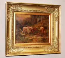 Henry Hiller Parker-Cows in a Landscape-Oil/Panel