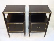 Pair of Jansen Gilt Black End Tables