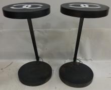 Pair of Mid-Century End Tables with Chanel Logos