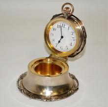 British Sterling Desk/Table Clock w/Gold Wash