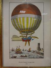 Color Engraving of First Channel Balloon Crossing