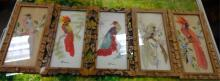 Set of 5 Mixed Media Bird Paintings (Feathercraft)