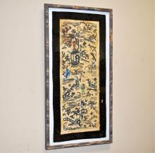 Framed Chinese Silk Needlepoint Tapestry c. 1900