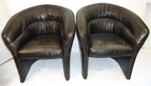 Pair of Modernist Black Leather Lounge Chairs
