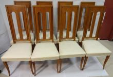 8 Art Deco White Leather Dining Room Chairs