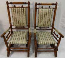 Pair of Victorian Spring Rocking Chairs