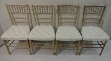 Set of 4 19th Century Bamboo & White Fabric Chairs