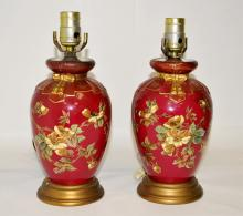 Pair of Royal Worcester Lamps- Aesthetic Period