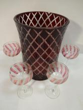 Cut Cranberry Glass Ice Bucket with 4 Glasses