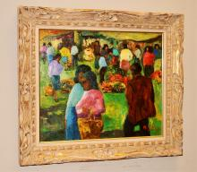Signed South American Market Scene- Oil/Canvas