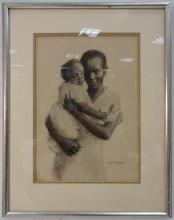 Black Mother w/Infant-H. P. Kimball-Charcoal/Paper