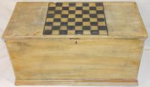 Vintage Swedish Pine Trunk with Chess Board