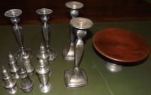 11 Sterling+SP Salt+Peppers, Candlesticks, Dish