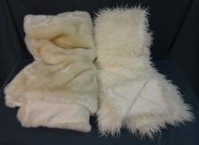 Pair of White Fabric Throws, One Faux-Fur