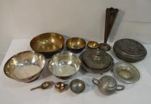 Lot/14 Vintage Silver Plate+Pewter Serving Pieces