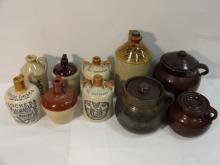 Lot of 10 Pottery & Ceramic Jugs and Pots
