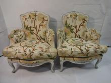 Pair of Vintage Needlepoint Easy Chairs