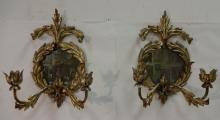 Pair/Antique French Gilt Metal Sconces w/Mirrors