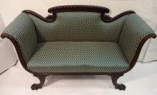Art Nouveau Mahogany & Blue Fabric Sofa