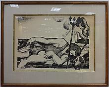 Etching of Sleeping Woman/Gunther Schollkopf