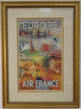 Vintage Framed Air France Advertising Lithograph