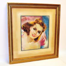 Matted & Framed Art Deco Pastel of Woman
