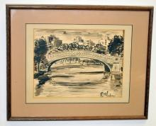 Waterscape with Bridge- Signed Ink Drawing
