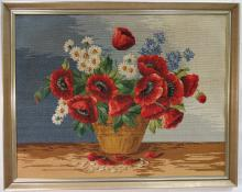 Framed Needlepoint Still Life w/Flowers-