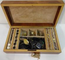 Vintage Jewelry Box w/Cufflinks, Studs, Watches