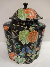 Vintage Hand-Painted Floral Cookie Jar with Lid