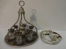 Lot/Tea, S+P Set with Silver-Rimmed Glass Dish