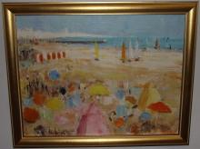 Beach Scene- Alain Rousseau- Oil on Canvas