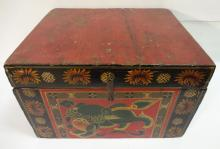 Antique Chinese Shanxi Trinket Box with Lion