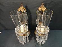 Pair of Antique Bronze and Crystal Lamps