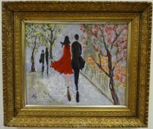 Impressionist Street Scene w/Couple- Signed O/C