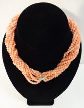 5-Strand Coral Necklace with Gold & Diamond Clasp