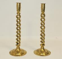 Pair of Edwardian British Brass Twist Candlesticks