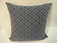 Vintage Grey & Blue Louis Vuitton Pillow