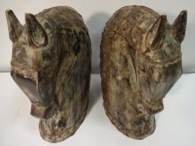Pair of Antique Carved Wood Horse Head Bookends
