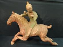 Antique Chinese Horse w/Rider/Plaster & Terracotta