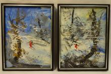 Pair of Morris Katz Snowscapes- Oil on Masonite