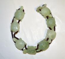 Signed Chinese Carved Jade Turtles Bracelet